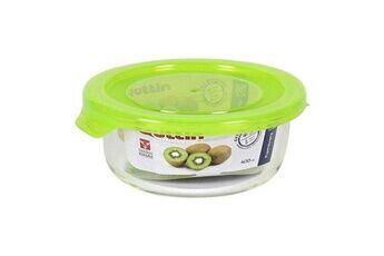 Euroweb Lunch box en verre rond avec couvercle - boite repas de voyage mesure - 400 cc - ø 13