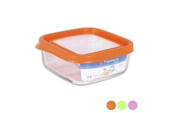 Euroweb Lunch box carré en verre avec couvercle (15 x 15 x 6,4 cm) boîte repas fermeture pour conservation couleur - orange