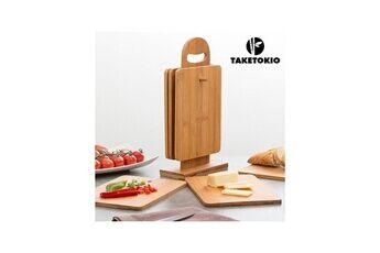 Take Tokio Set de planches de cuisine en bambou avec support taketokio (7 pièces)