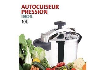Icaverne Autocuiseur - cocotte minute autocuiseur + panier vapeur - 10 l - gris et noir - tous feux dont induction