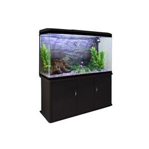 Monstershop Aquarium à bords noir avec meuble noir et gravier naturel