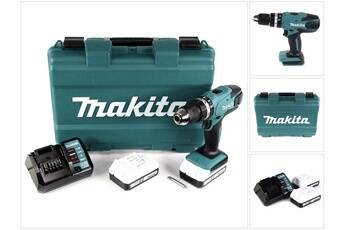Makita hp 457 dwe ryj 18 v li-ion perceuse visseuse à percussion sans fil en coffret + 2x batteries 1,5 ah + chargeur
