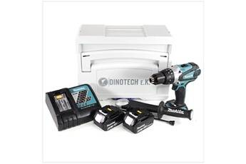 Makita dhp 458 rtj 18v li-ion perceuse visseuse à percussion sans fil + coffret tanos systainer® + 2x batteries bl 1850 5 ah + chargeur dc 18 rc