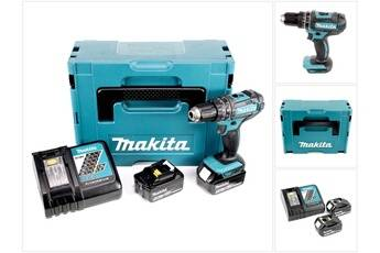 Makita dhp 482 rtj - 18 v li-ion perceuse visseuse à percussion sans fil avec coffret makpac + 2x batteries bl 1850 5,0 ah + chargeur dc 18 rc