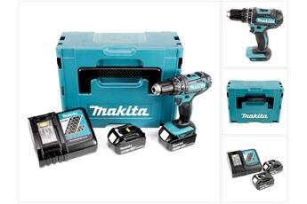 Makita dhp 482 rfj - 18 v li-ion perceuse visseuse à percussion sans fil + coffret makpac  + 2 x batteries bl 1830 3,0 ah + chargeur dc 18 rc