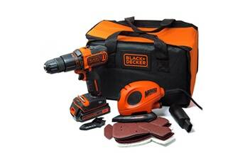 Black & Decker Kit perceuse visseuse à percussion 18 v + ponceuse bdk200as1s-qw