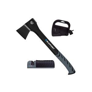 Blaupunkt cx7000 hache bois jusqu'à 200mm diamètre, 60 cm longueur, tête en acier ptfe affûteuse de lame et support rangement inclus poids 1250 g