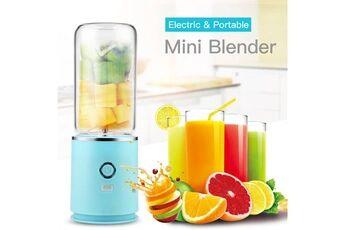 Ckeyin Mélangeur portable usb rechargeable avec 4 lames machine de mélange de fruits blender pour shakes and smoothies-bleu