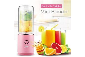 Ckeyin Mélangeur portable usb rechargeable avec 4 lames machine de mélange de fruits blender pour shakes and smoothies-pink
