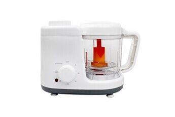 Todeco Cuiseur à vapeur et mixeur pour bébé, robot de cuisine, blanc/gris, fonctions:  2 en 1 cuiseur vapeur et mélangeur
