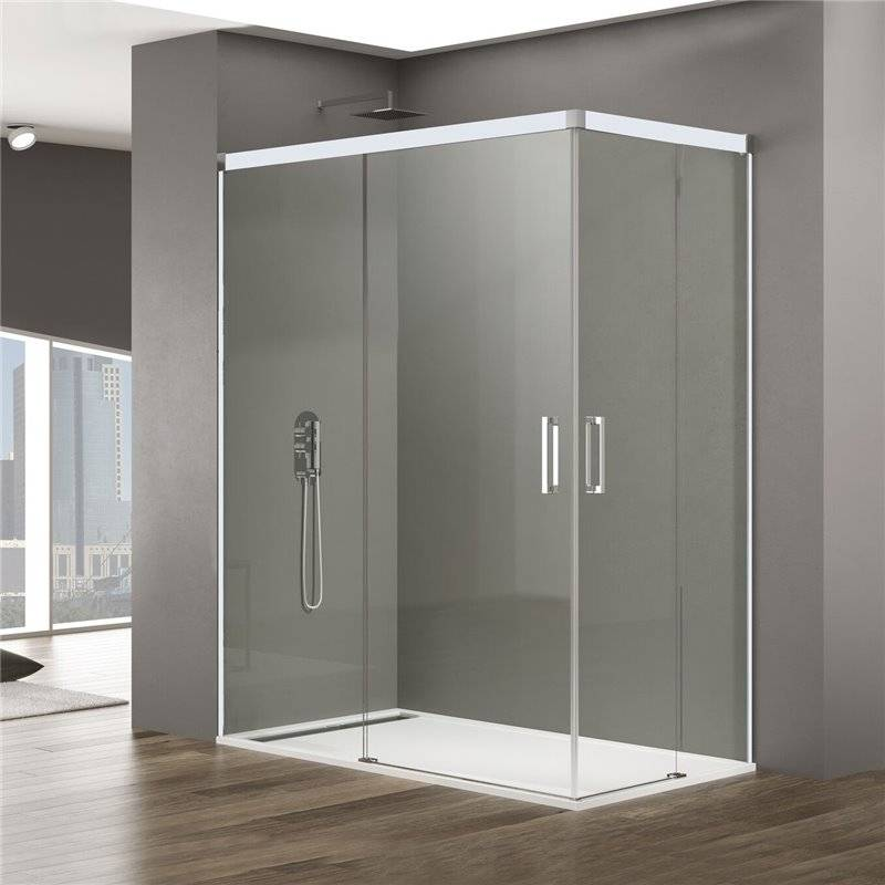 GME® - Pare-douche d'angle 2 portes coulissantes BASIC BLANC GME