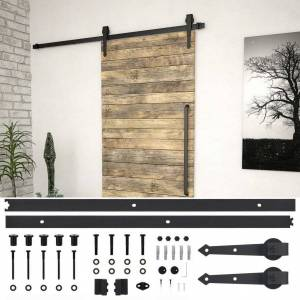Vidaxl kit de fixation pour porte coulissante 200 cm acier noir - Publicité