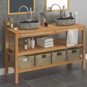 Vidaxl armoire de toilette teck solide et lavabos en pierre de rivière Armoires & meubles de rangement Meubles-lavabos de salle de bains - Publicité
