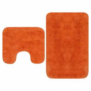 Vidaxl tapis de salle de bain 2 pcs tissu orange Accessoires de salle de bain Tapis de bain & fonds de baignoire - Publicité