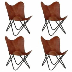 Vidaxl chaises papillon 4 pcs marron taille d'enfants cuir véritable Fauteuils et chaises Fauteuils - Publicité