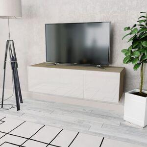 Vidaxl meuble tv aggloméré 120 x 40 x 34 cm chêne et blanc brillant Produits ménagers Organiseurs pour armoires & penderies pour vê - Publicité