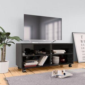 Vidaxl meuble tv avec roulettes noir brillant 90x35x35 cm aggloméré Meubles tv Meubles tv - Publicité