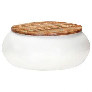 Vidaxl table basse blanc 68x68x30 cm bois de récupération solide Tables Tables basses - Publicité