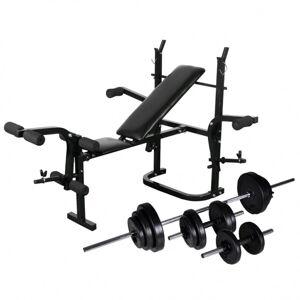 Vidaxl banc d'entraînement avec support de poids jeu d'haltères 30,5kg Entraînement & fitness Machines d'haltérophilie & supports pour barr - Publicité