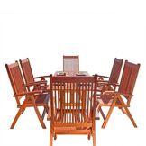 DVG Table � manger d'ext�rieur bois Malibu Curve - 6 chaises L