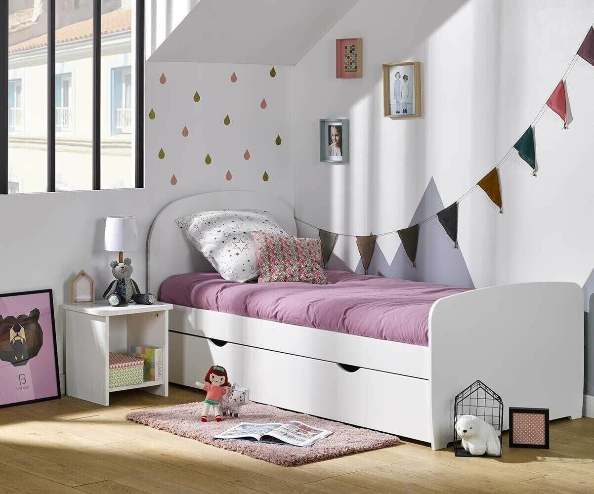 Ma Chambre d'Enfant Lit enfant avec sommier et matelas Luen  Blanc 90x190 cm
