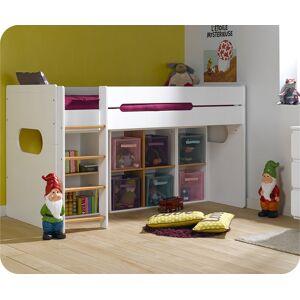 Ma Chambre d'Enfant Lit enfant mi-hauteur Spark  Blanc et hêtre 90x200 cm - Publicité