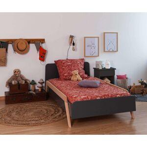 Ma Chambre d'Enfant Lit enfant avec sommier et barrières Ozzo  Gris anthracite et hêtre 90x190 cm - Publicité