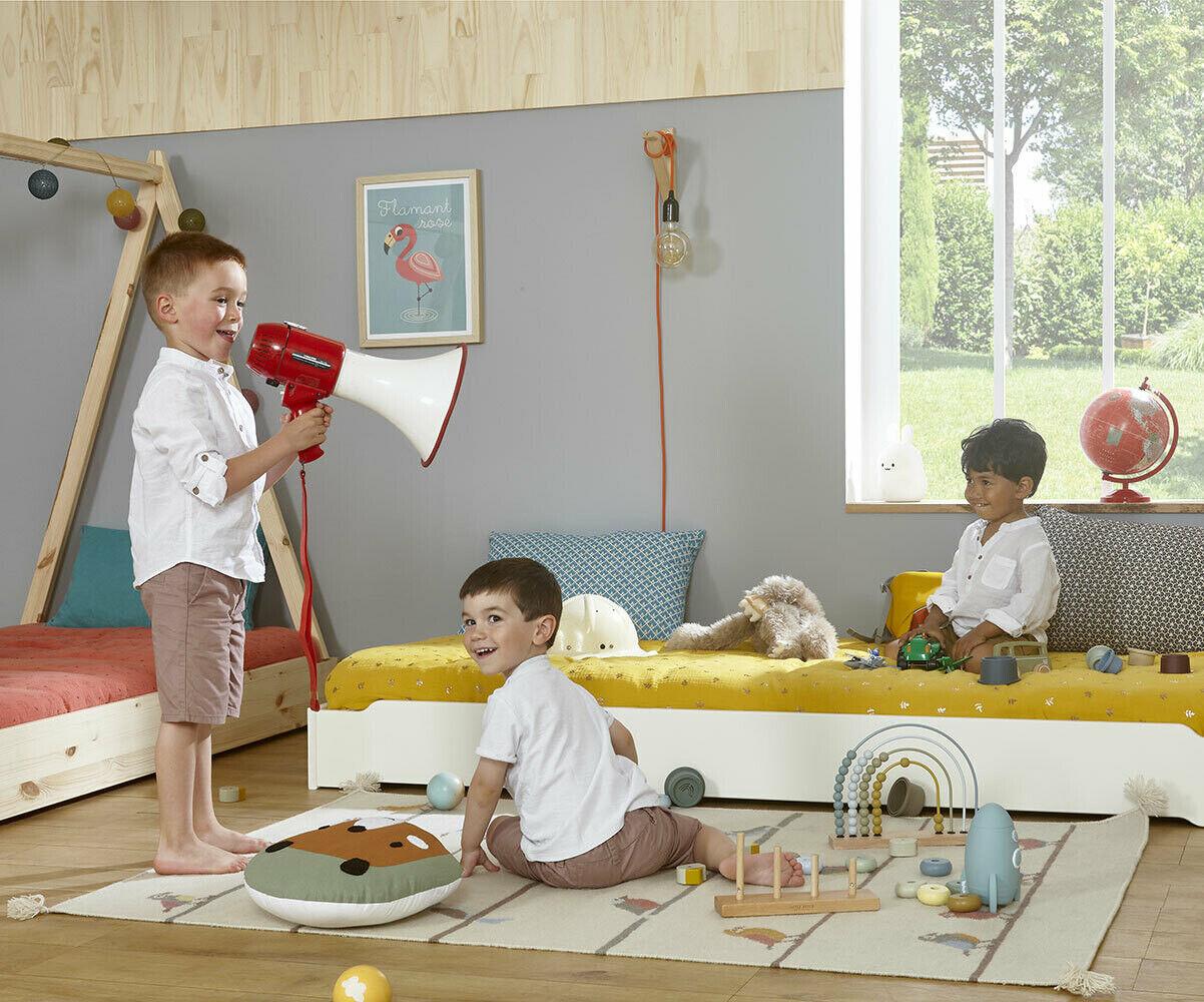 Ma Chambre d'Enfant Lit enfant empilable avec sommier Happy  Blanc 90x190 cm