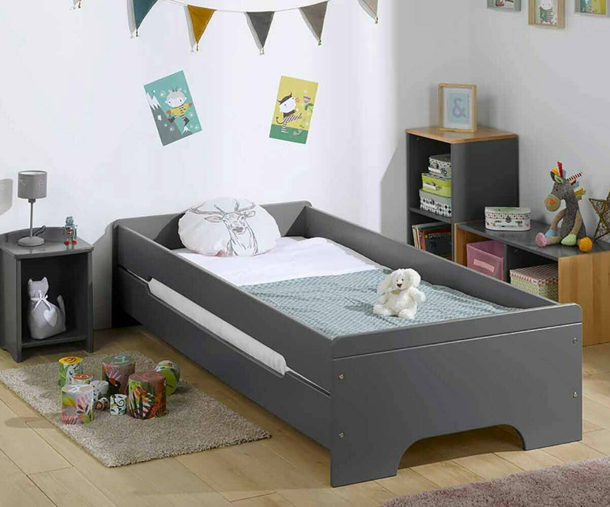 Ma Chambre d'Enfant Lit enfant avec barrières Teen  Gris anthracite 90x200 cm