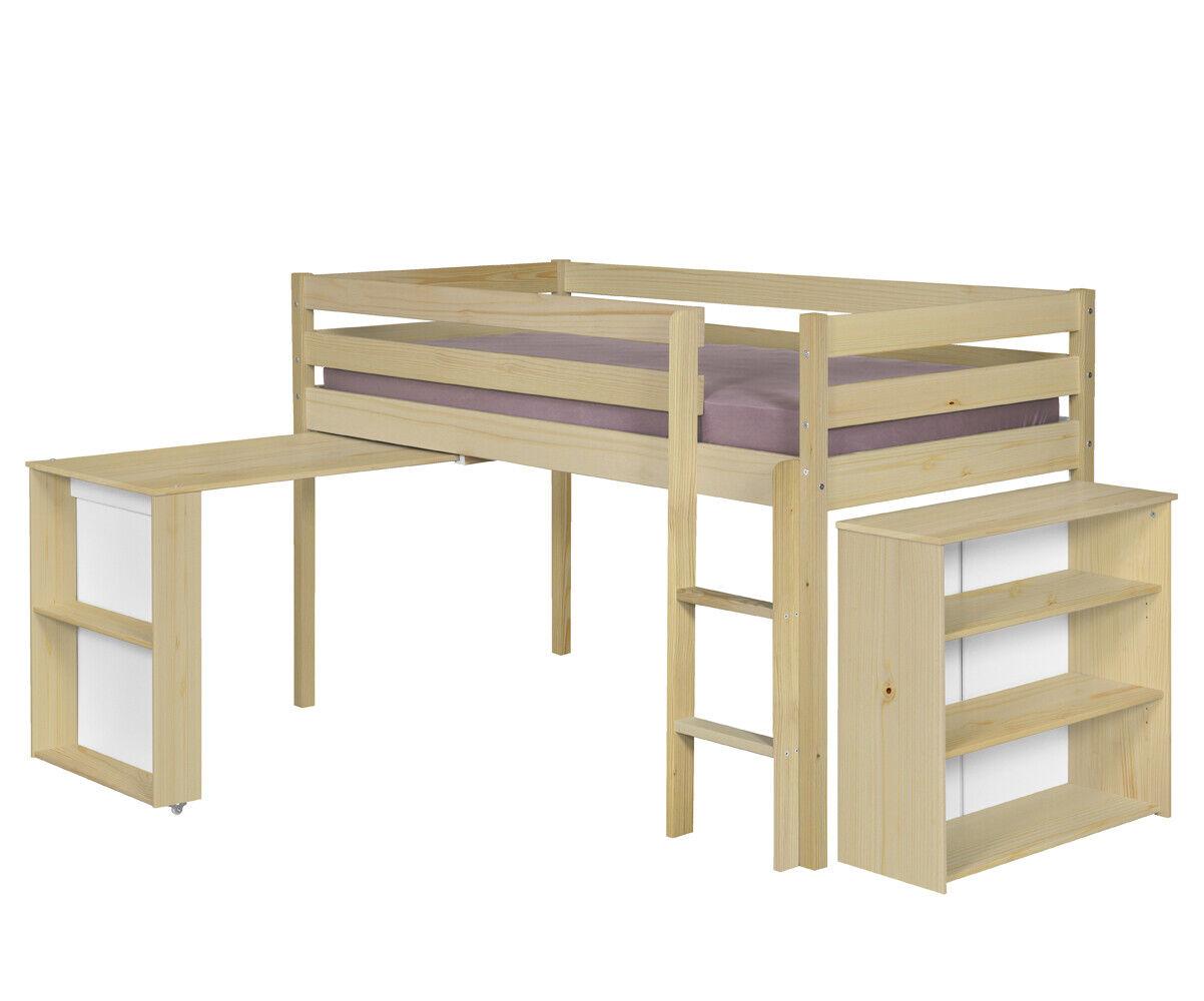 Ma Chambre d'Enfant Lit enfant mi-hauteur Tamis  Gris anthracite 90x190 cm