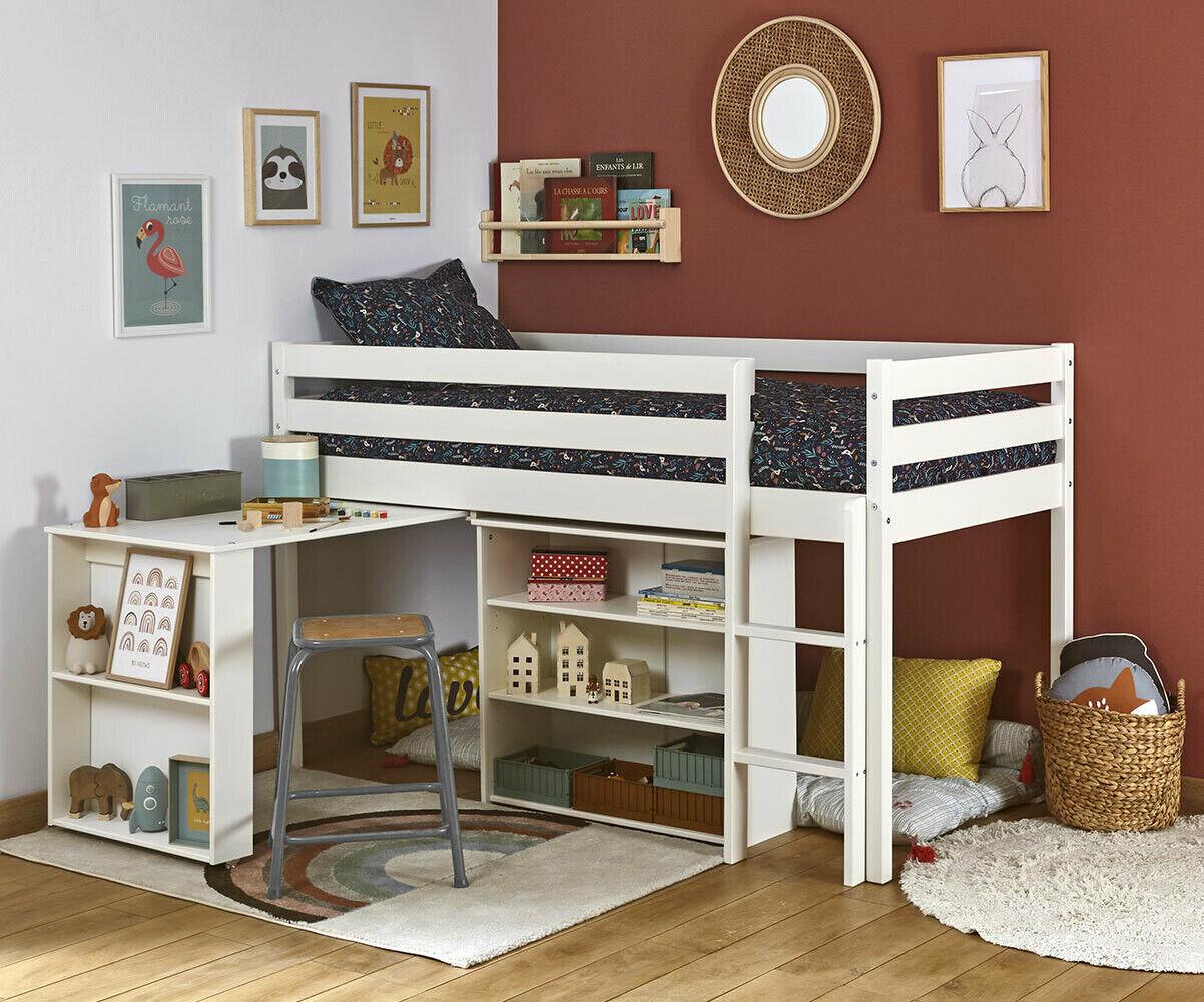 Ma Chambre d'Enfant Lit enfant mi-hauteur Tamis  Blanc 90x190 cm