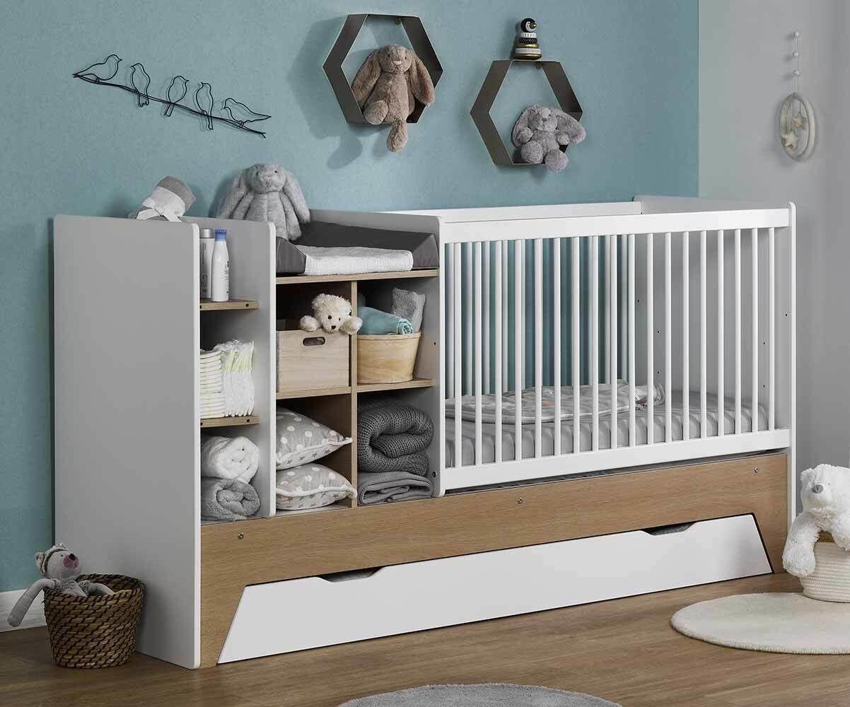 Ma Chambre d'Enfant Lit bébé combiné évolutif avec tiroir Moon  Blanc et bois 60x120 cm