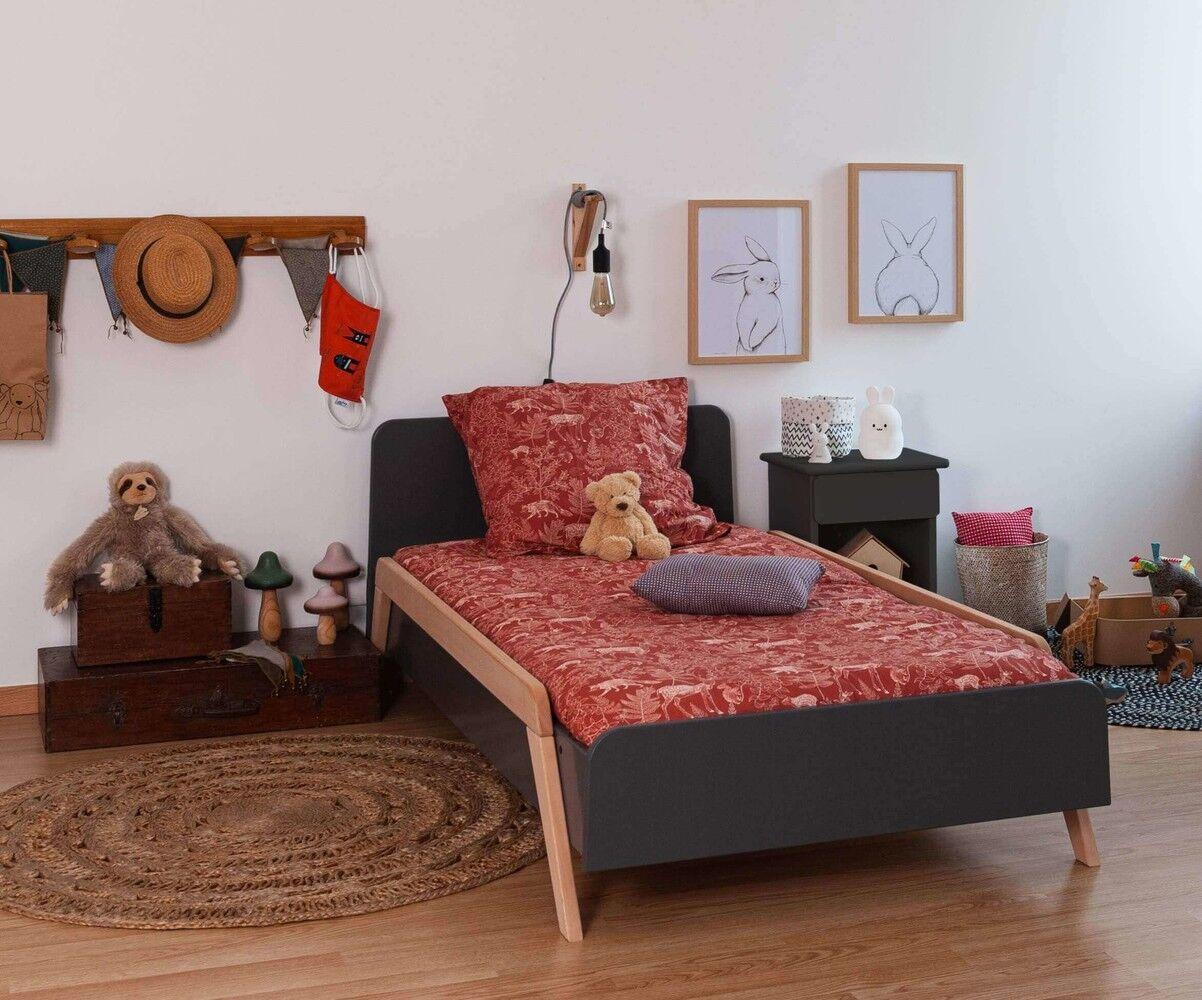 Ma Chambre d'Enfant Lit enfant avec barrières Ozzo  Gris anthracite et hêtre 90x190 cm