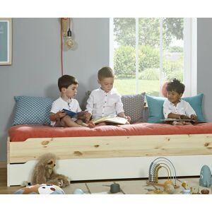 Ma Chambre d'Enfant Lit enfant empilable avec sommier et matelas Happy  Brut à peindre 90x190 cm - Publicité