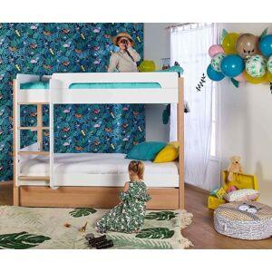 Ma Chambre d'Enfant Lit Enfant Superposé avec Sommier Gigogne Sweet  Blanc et bois 90x190cm - Publicité