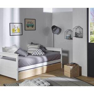 Ma Chambre d'Enfant Lit gigogne enfant banquette Mélo  Blanc et bois 90x200 cm - Publicité