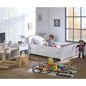 Ma Chambre d'Enfant Lit enfant évolutif Jaïpur  Blanc et bois 90x140 à 90x190 cm - Publicité