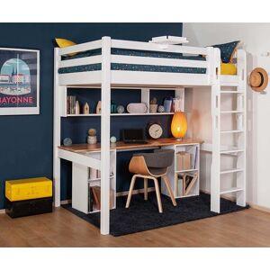 Ma Chambre d'Enfant Lit mezzanine enfant avec bureau Cancun  Blanc et bois 90x190 cm/Opt:Bureau en longueur - Publicité