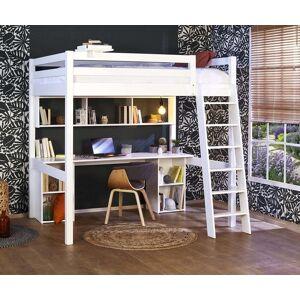 Ma Chambre d'Enfant Lit mezzanine enfant 2 places avec bureau Cancun  Blanc 140x190 cm/Opt:Bureau en longueur - Publicité
