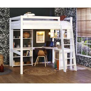 Ma Chambre d'Enfant Lit mezzanine enfant 2 places avec bureau Cancun  Blanc 140x190 cm/Opt:Bureau en largeur - Publicité