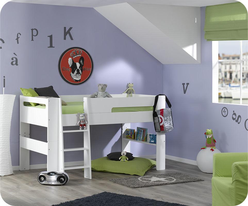 Ma Chambre d'Enfant Lit mi-hauteur enfant Wax  Blanc 90x190 cm
