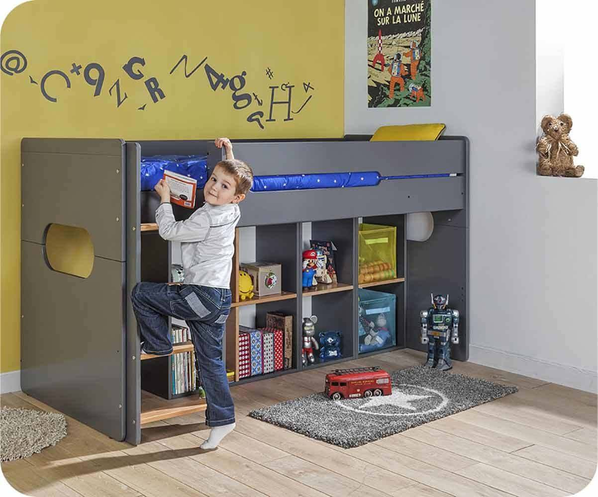 Ma Chambre d'Enfant Lit enfant mi-hauteur Spark  Gris anthracite et hêtre 90x200 cm