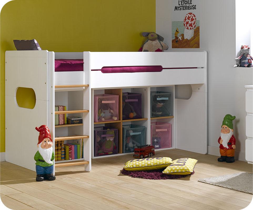 Ma Chambre d'Enfant Lit enfant mi-hauteur Spark  Blanc et hêtre 90x200 cm