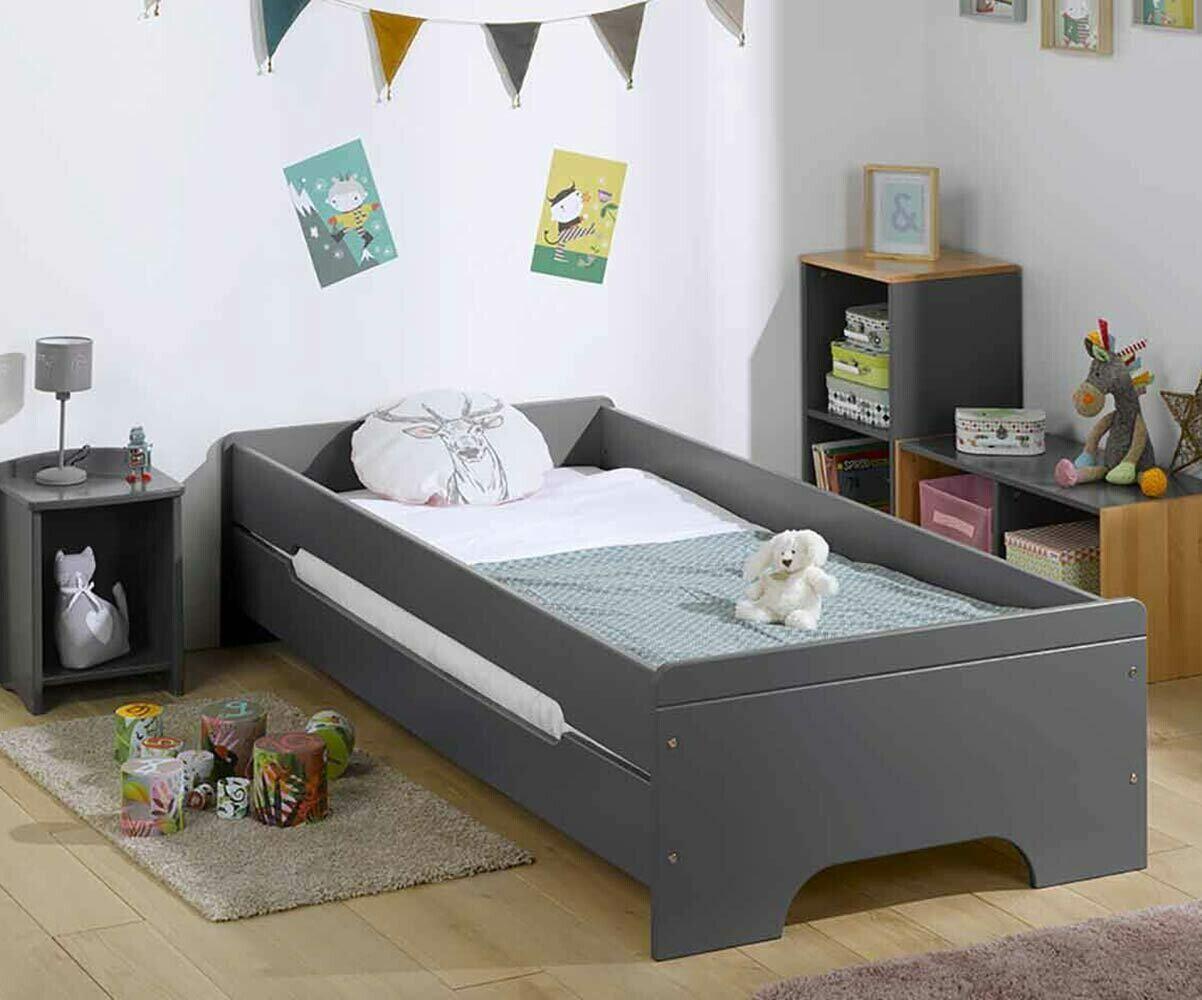 Ma Chambre d'Enfant Lit enfant avec barrières, sommier et matelas Teen  Gris anthracite 90x200 cm