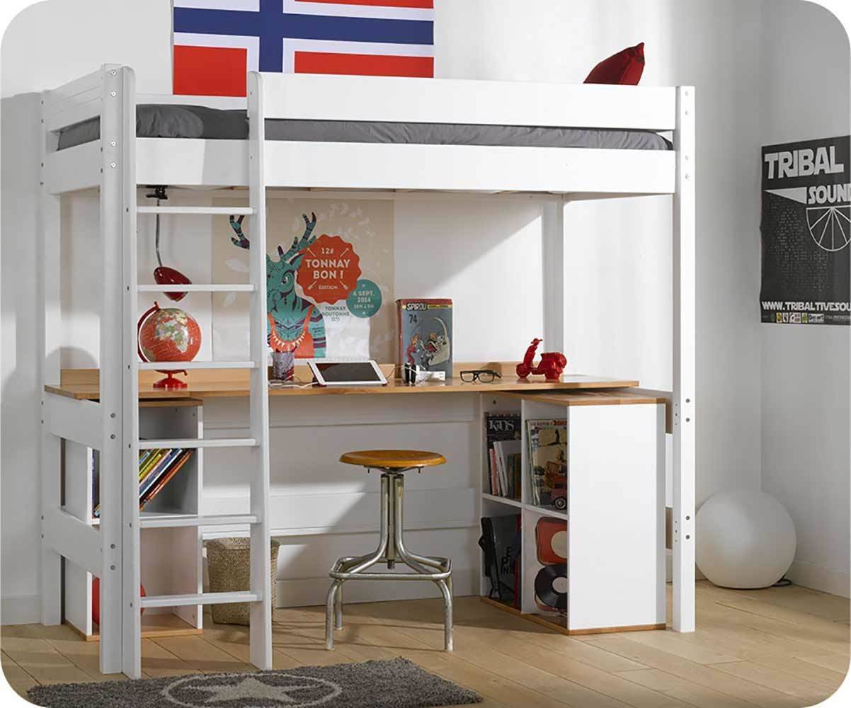 Ma Chambre d'Enfant Lit mezzanine enfant avec bureau Clay  Blanc 90x190 cm