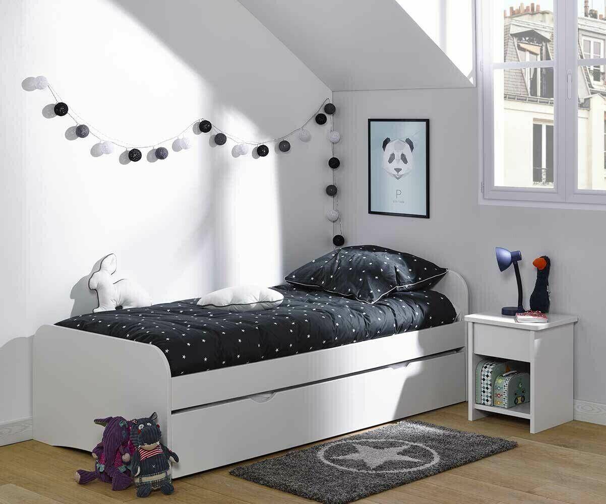 Ma Chambre d'Enfant Lit enfant avec sommier et matelas Twist  Blanc 90x200 cm