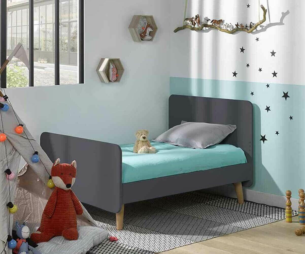 Ma Chambre d'Enfant Lit enfant évolutif avec pieds et matelas Willow  Gris anthracite 90x140 à 90x190 cm