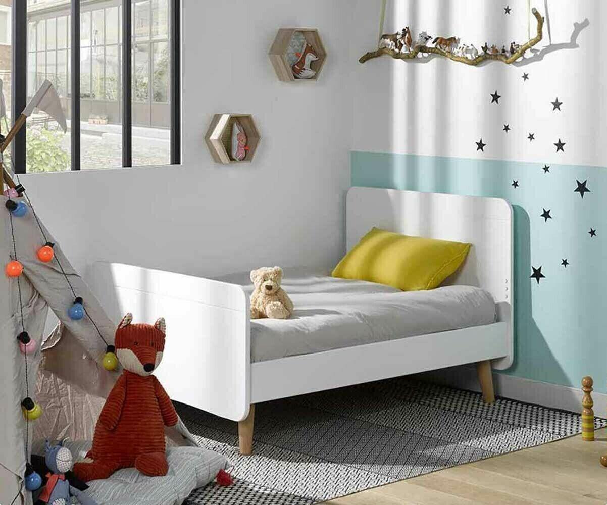 Ma Chambre d'Enfant Lit enfant évolutif avec pieds et matelas Willow  Blanc 90x140 à 90x190 cm