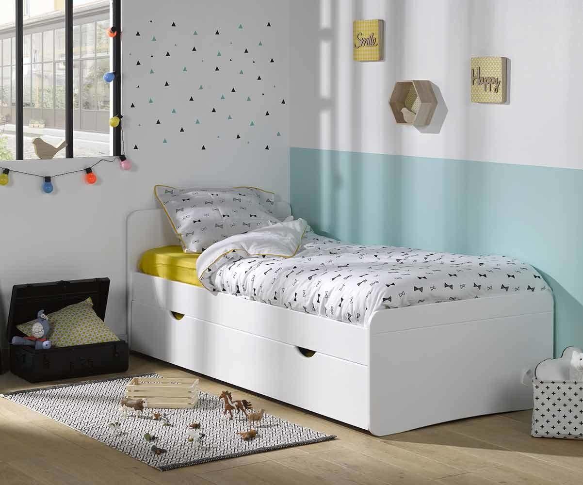 Ma Chambre d'Enfant Lit enfant avec sommier et matelas Willow  Blanc 90x190 cm