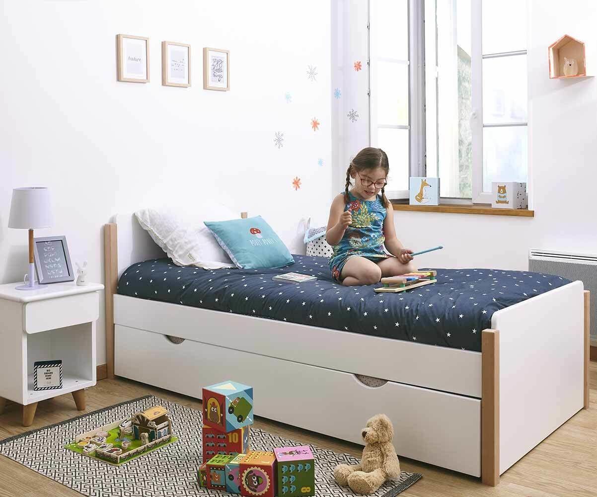 Ma Chambre d'Enfant Lit enfant avec sommier et matelas Sweet  Blanc 90x190 cm